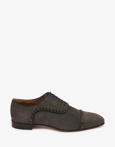 Christian Louboutin Eton Castor Grey Suede Leather Oxford Shoes
