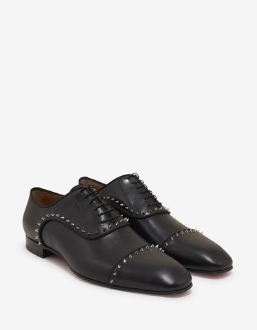 Christian Louboutin Eton Flat Black Leather Oxford Shoes