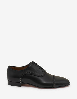 Eton Flat Black Leather Oxford Shoes