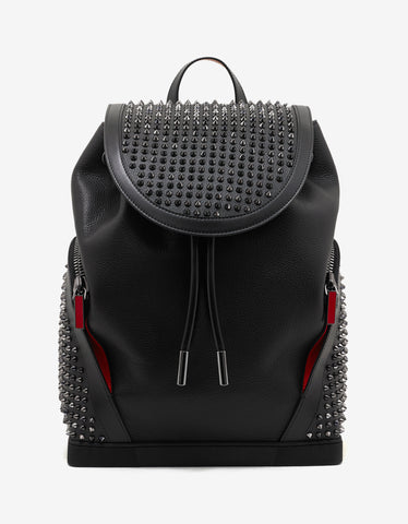 Christian Louboutin Explorafunk Black Leather Spikes Backpack