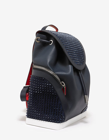 Christian Louboutin Explorafunk Marine Blue Leather Spikes Backpack
