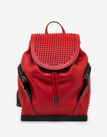 Christian Louboutin Explorafunk Loubi Red Leather Spikes Backpack