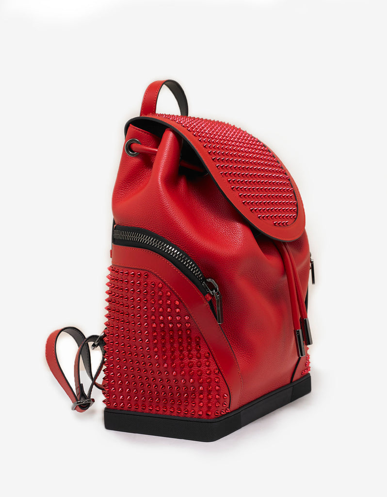 6aef9022119 Explorafunk Loubi Red Leather Spikes Backpack