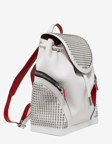Christian Louboutin Explorafunk Snow White Leather Spikes Backpack