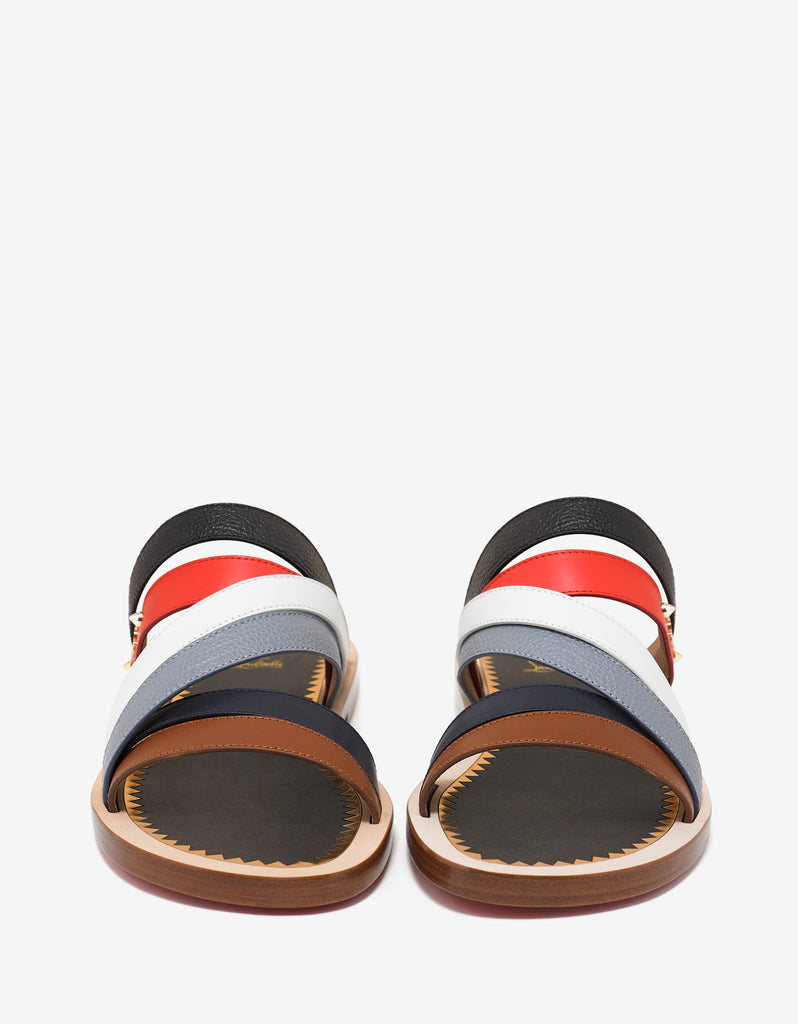 Flag Shoe Flat Multicoloured Leather Sandals