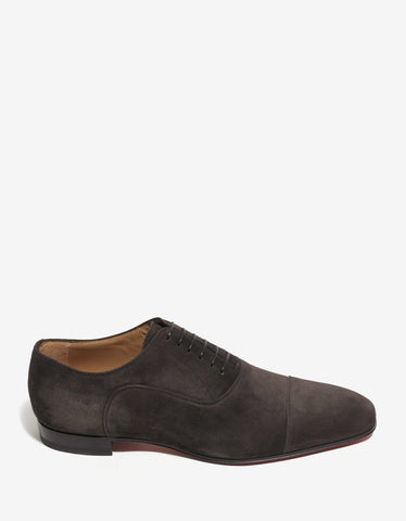Christian Louboutin Greggo Brown Suede Leather Oxford Shoes