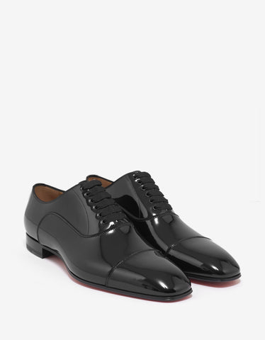 Christian Louboutin Greggo Flat Black Patent Leather Oxford Shoes