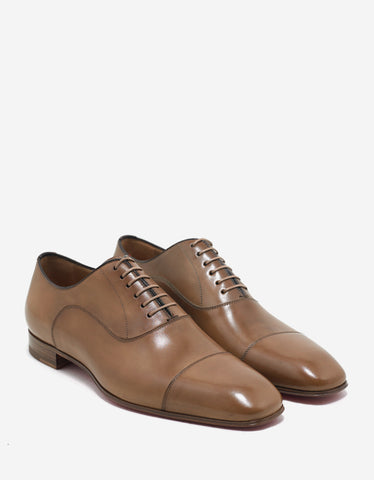 Christian Louboutin Greggo Flat Cappuccino Tan Leather Oxford Shoes