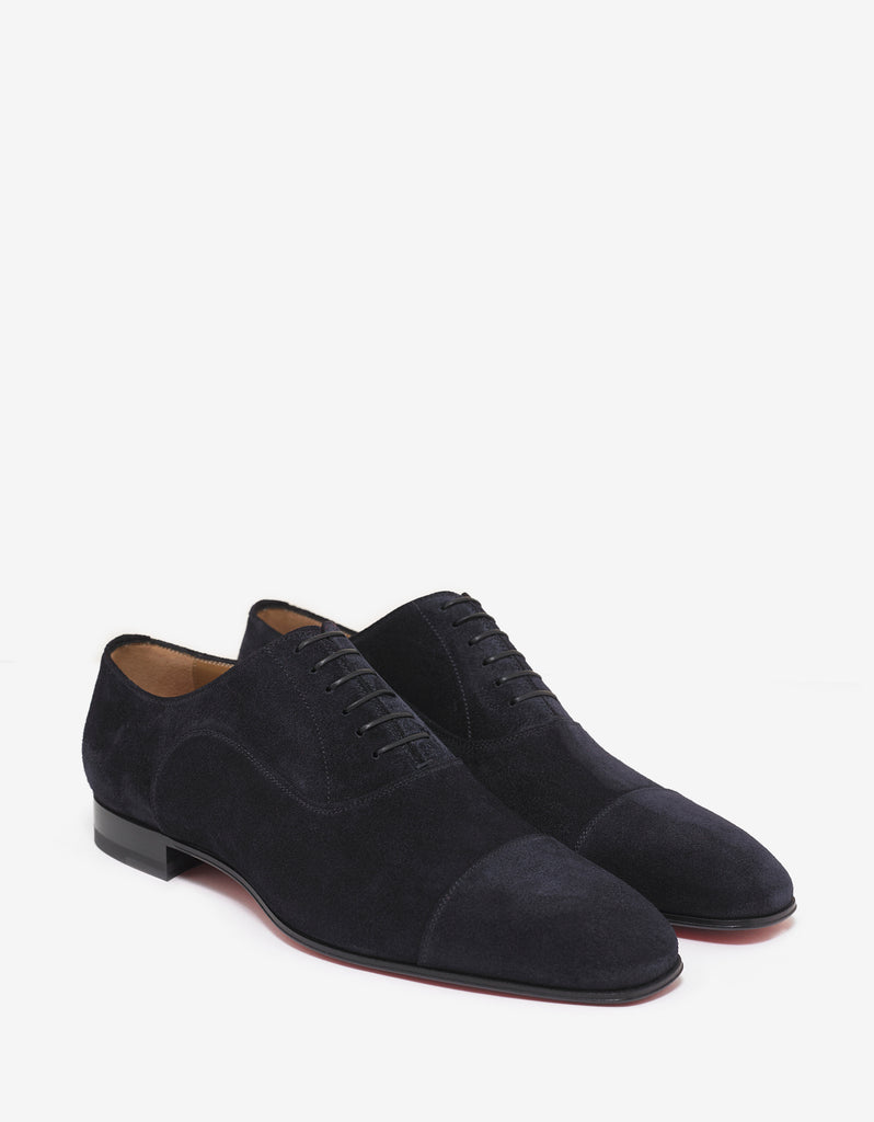 Greggo Flat Navy Blue Suede Leather Oxford Shoes