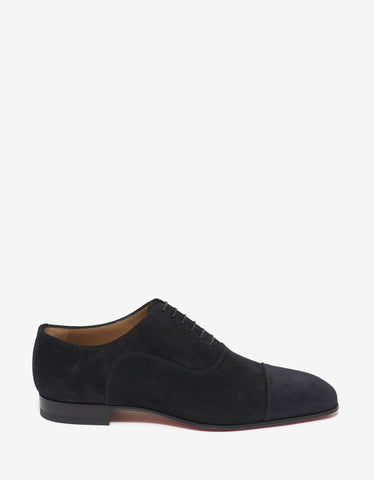 Christian Louboutin Greggo Flat Navy Blue Suede Leather Oxford Shoes