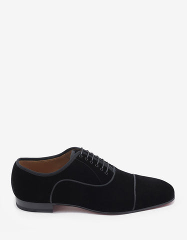 Christian Louboutin Greggo Orlato Flat Black Velvet Oxford Shoes