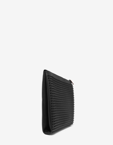 Christian Louboutin Kaloupouch Black Leather Spikes Bag