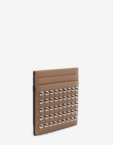 Christian Louboutin Kios Dune Beige Leather Spikes Card Holder
