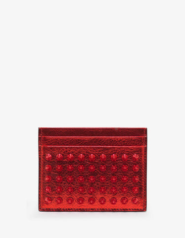 Christian Louboutin Kios Loubi Satin Leather Card Holder