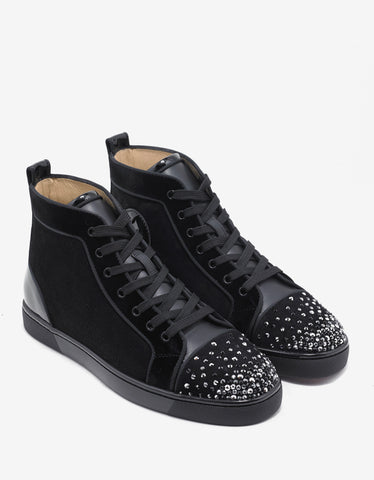 Christian Louboutin Lou Degra Flat Crystal Embellished Suede High Trainers