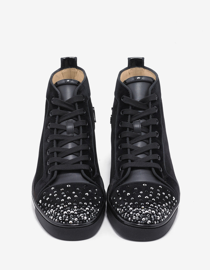 Lou Degra Flat Crystal Embellished Suede High Trainers