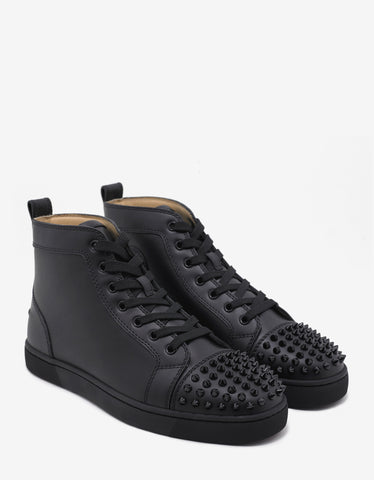 Christian Louboutin Lou Spikes Flat Calf Black High Top Trainers