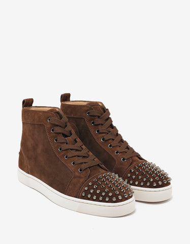 Christian Louboutin Lou Spikes Flat Pur Sang Suede High Top Trainers