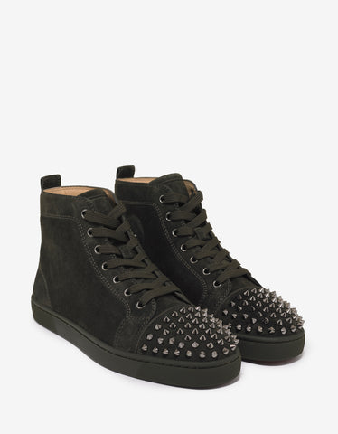 Christian Louboutin Lou Spikes Flat Tyrol Khaki Suede High Top Trainers