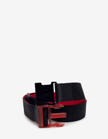 Loubiclic Red Nylon Logo Jacquard Belt