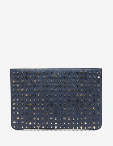 Christian Louboutin Loubiclutch Quartz Blue Leather Trashmix Studs Bag