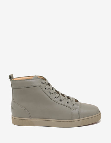 Christian Louboutin Louis Flat Argile Leather High Top Trainers