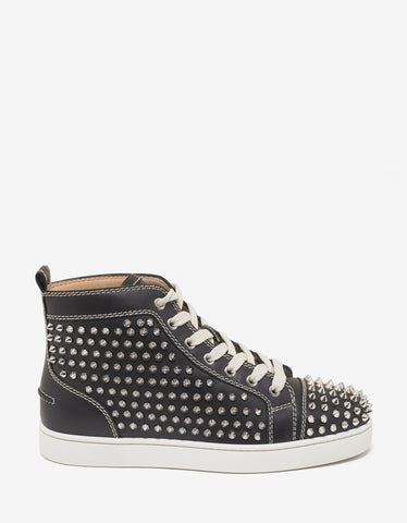 Christian Louboutin Louis Flat Black High Top Trainers with Silver Spikes