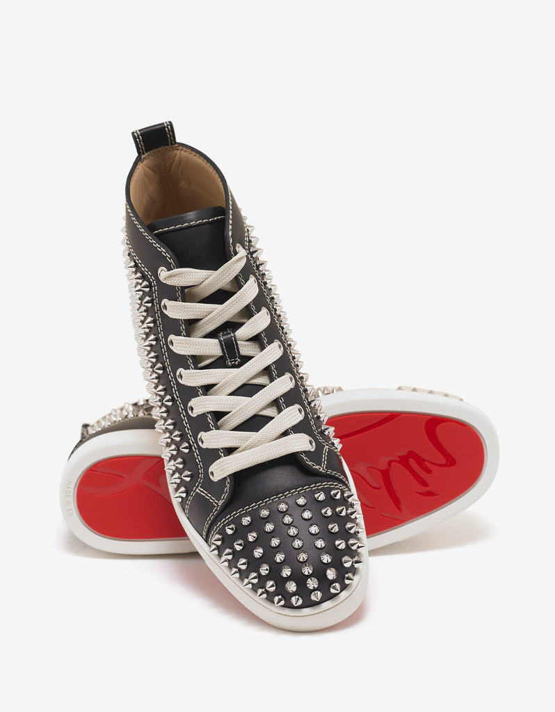 Louis Flat Black High Top Trainers with Silver Spikes