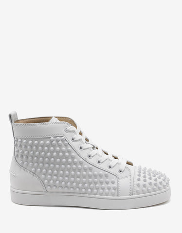 Christian Louboutin Louis Flat Calf Latte & Gold Spikes High Top Trainers