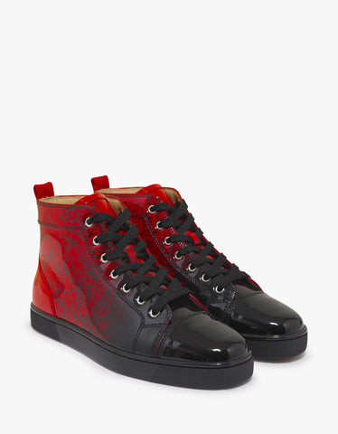 Christian Louboutin Louis Flat Red Degraloubi Patent High Top Trainers