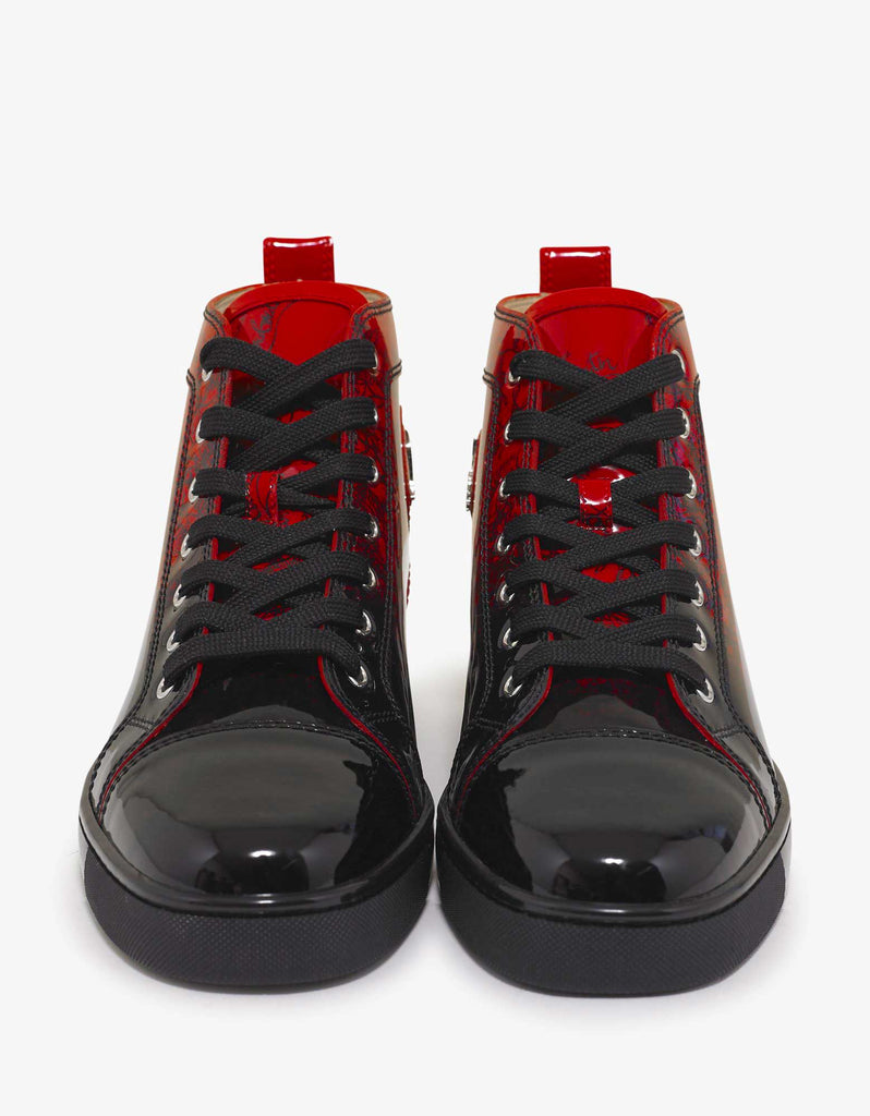 cheap for discount b844e c563c Louis Flat Red Degraloubi Patent High Top Trainers