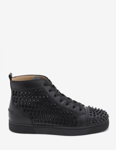 Christian Louboutin Louis Flat Spikes Black High Top Trainers