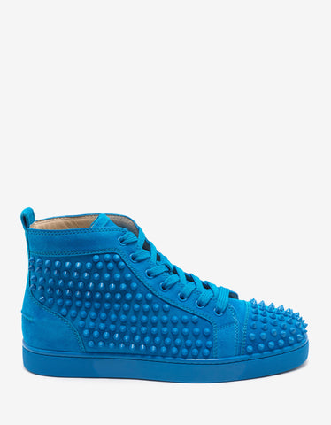 Christian Louboutin Louis Flat Spikes Egyptian Blue Suede High Top Trainers
