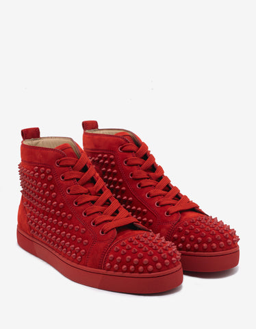 Christian Louboutin Louis Flat Spikes Tomette Red Suede High Top Trainers