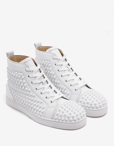 Christian Louboutin Louis Flat Spikes White High Top Trainers