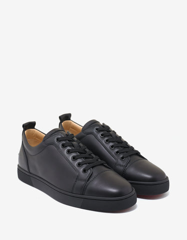 Christian Louboutin Louis Junior Flat Black Leather Trainers