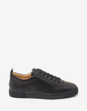 Louis Junior Flat Black Leather Trainers