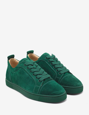 Christian Louboutin Louis Junior Flat Jungle Green Suede Trainers