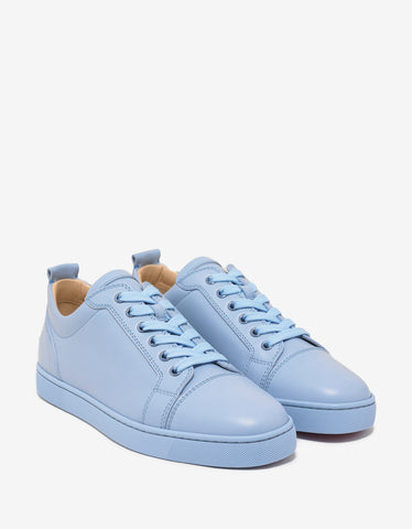 Christian Louboutin Louis Junior Flat Sky Blue Leather Trainers