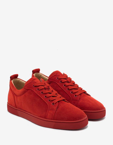 Christian Louboutin Louis Junior Flat Tomette Red Suede Trainers