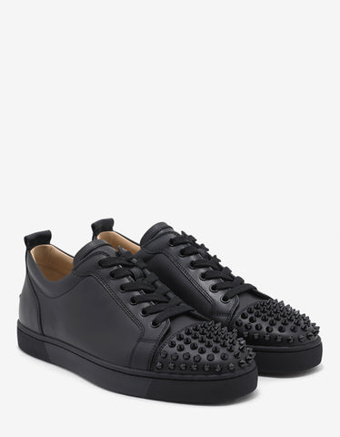 Christian Louboutin Louis Junior Spikes Flat Black Leather Trainers
