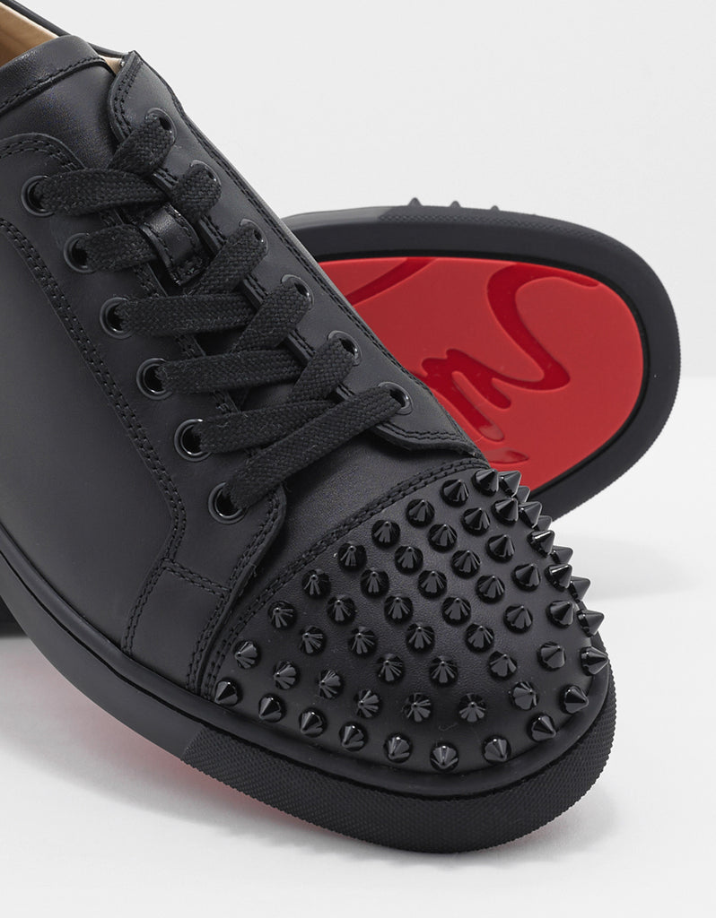 separation shoes 5755f 7a42e Louis Junior Spikes Flat Black Leather Trainers