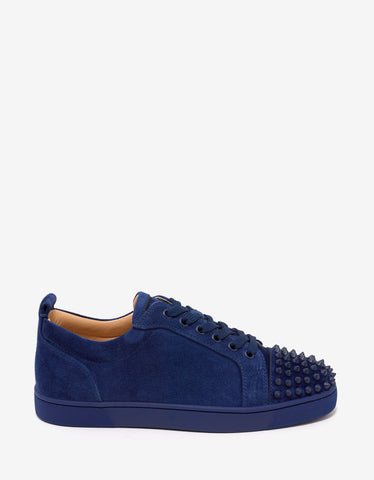 Christian Louboutin Louis Junior Spikes Flat China Blue Suede Trainers