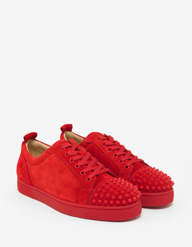 Christian Louboutin Louis Junior Spikes Flat Loubi Red Suede Trainers