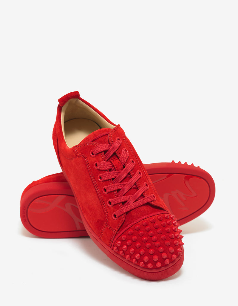 Louis Junior Spikes Flat Loubi Red Suede Trainers