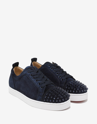 Christian Louboutin Louis Junior Spikes Flat Marine Blue Suede Trainers
