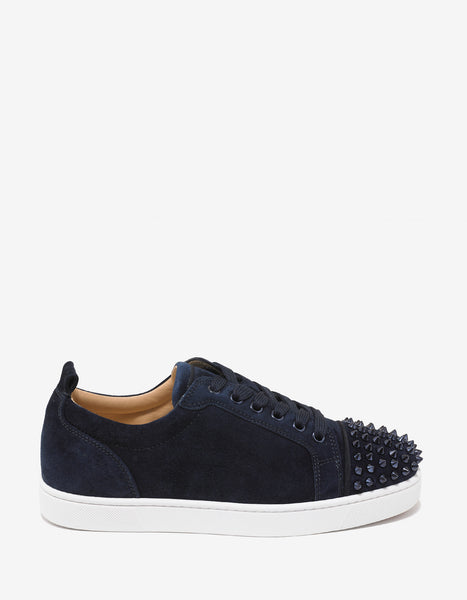 203fd6ebd0d6 Christian Louboutin Louis Junior Spikes Flat Marine Blue Suede Trainers –  ZOOFASHIONS.COM