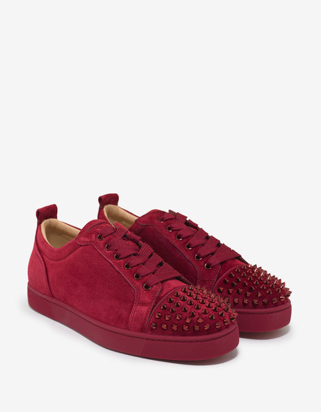900ff985f2d3 Christian Louboutin Louis Junior Spikes Flat Sanguine Red Suede Trainers –  ZOOFASHIONS.COM