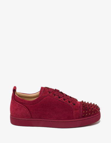 Christian Louboutin Louis Junior Spikes Flat Sanguine Red Suede Trainers
