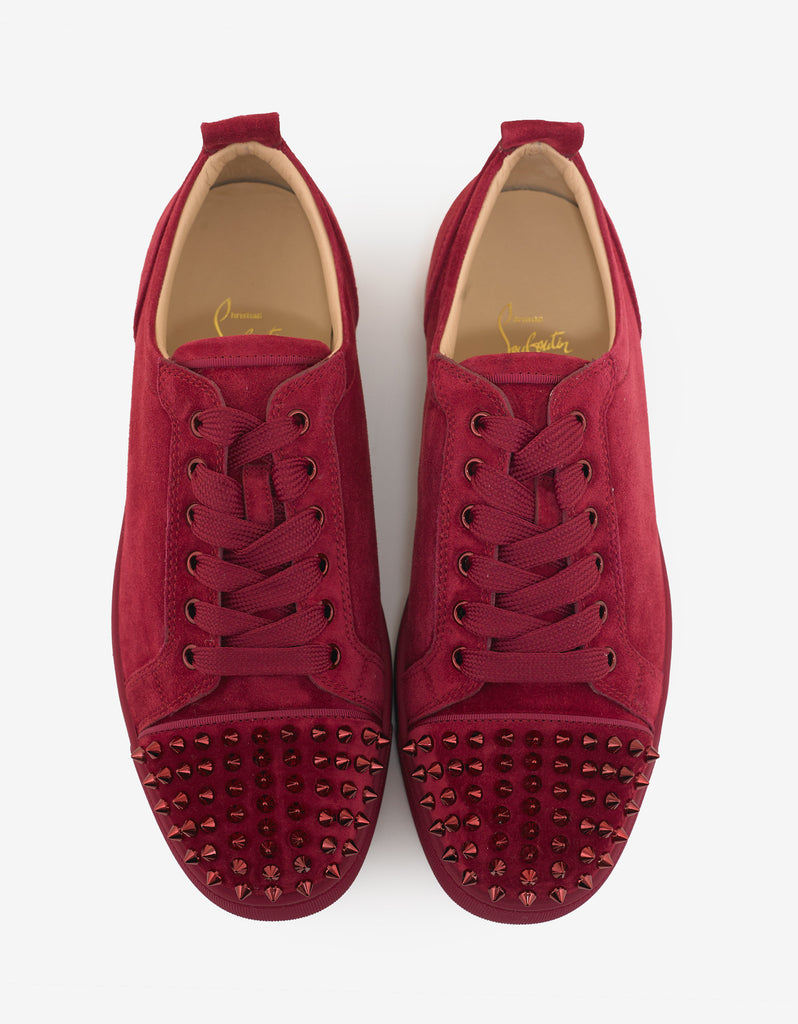 ebe15adac78 Christian Louboutin Louis Junior Spikes Flat Sanguine Red Suede ...